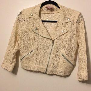 Cream Lace Moto Jacket (Romeo+Juliet)